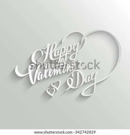 Happy Valentines Day Hand lettering Greeting Card. Typographical Background. Handmade calligraphy. Easy paste to any background - stock photo