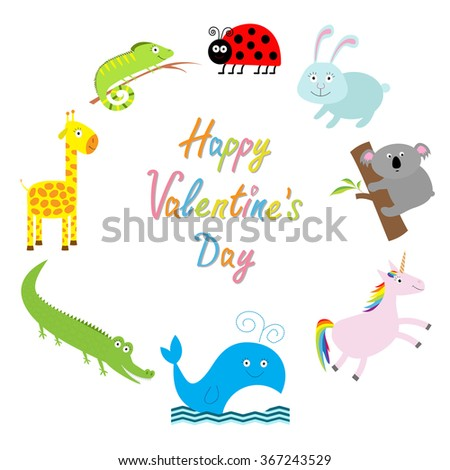 Happy Valentines Day. Love card. Cute animal frame. Baby background. Ladybug, koala, whale, rabbit, unicorn alligator, giraffe and iguana. Flat design  - stock photo
