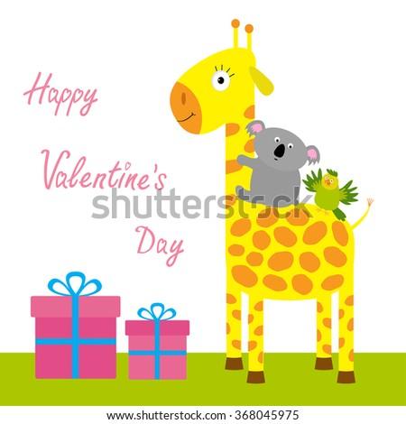 Happy Valentines Day. Love card. Cute giraffe, koala and parrot. Giftbox set Baby background Flat design.  - stock photo