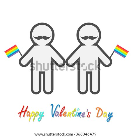 Happy Valentines Day. Love card. Gay marriage Pride symbol Two contour man with mustaches and rainbow flags LGBT icon Flat design.  - stock photo
