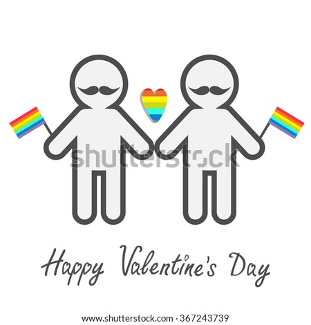 Happy Valentines Day. Love card. Gay marriage Pride symbol Two contour man with mustaches and flags LGBT icon Rainbow heart Flat design. - stock photo