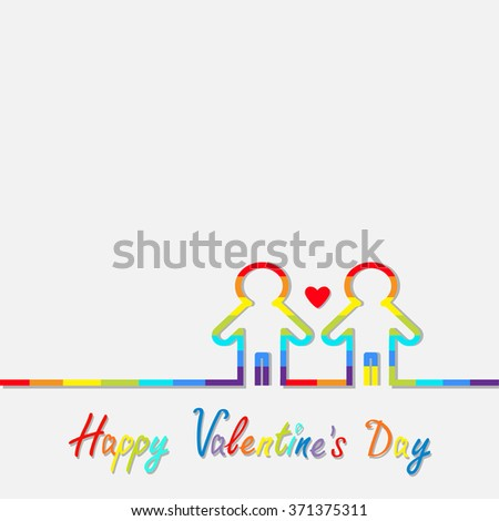 Happy Valentines Day. Love card. Gay marriage Pride symbol Two contour rainbow line man LGBT icon Red heart Flat design.  - stock photo