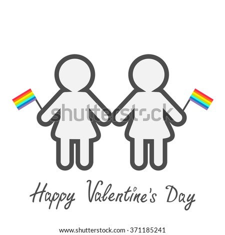Happy Valentines Day. Love card. Gay marriage Pride symbol Two contour women with rainbow flags LGBT icon Flat design.  - stock photo