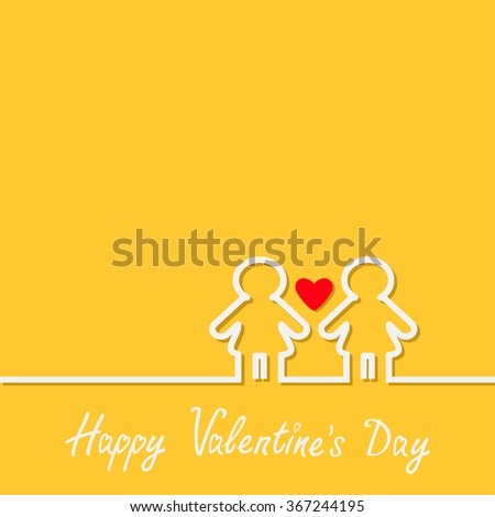 Happy Valentines Day. Love card. Gay marriage Pride symbol Two white contour women line sign with red heart LGBT icon Yellow background Flat design.  - stock photo