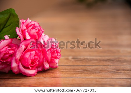 Happy Valentines Day, Special day, Birthday, Anniversary. Roses on wood background and left of frame,right space .Bouquet for special person. - stock photo