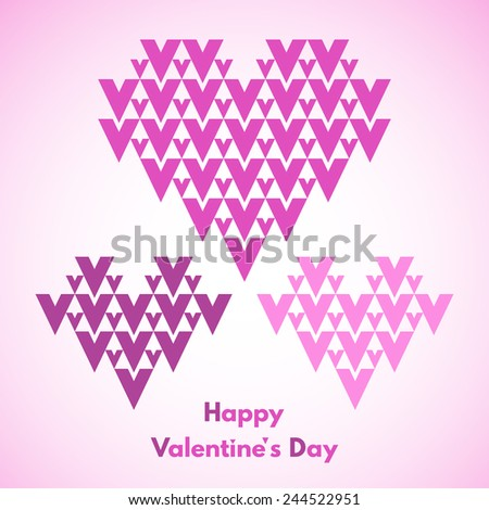 Happy Valentines Day vector greeting card. Abstract geometrical hearts with lettering. Conceptual, minimalist. Raster version. - stock photo