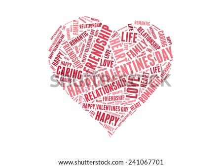Happy valentines day with Love info-colorful text graphic concept composed in heart shape on white background - stock photo