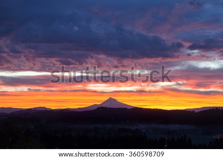 Happy Valley Oregon with Mt Hood View during Sunrise with Colorful Dramatic Sky