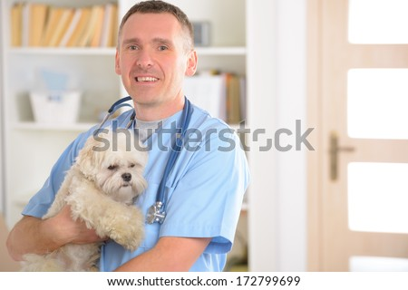 Happy vet with dog and stethoscope - stock photo