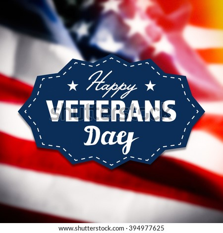 Happy Veterans Day sign on USA flag background - stock photo