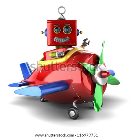 Happy vintage toy robot sitting in a toy plane over white background - stock photo