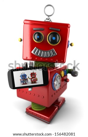 Happy vintage toy robot with smartphone and thumbs up over white background - stock photo