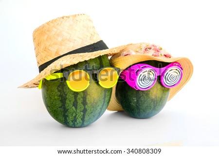 Happy watermelon couple on white background - stock photo