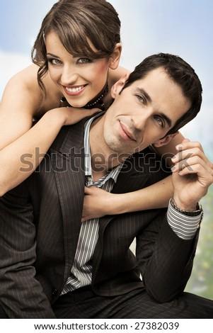 happy wedding couple - stock photo