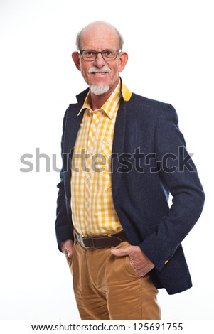 Happy well dressed senior man with glasses. Isolated.