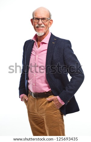 Happy well dressed senior man with glasses. Isolated. - stock photo