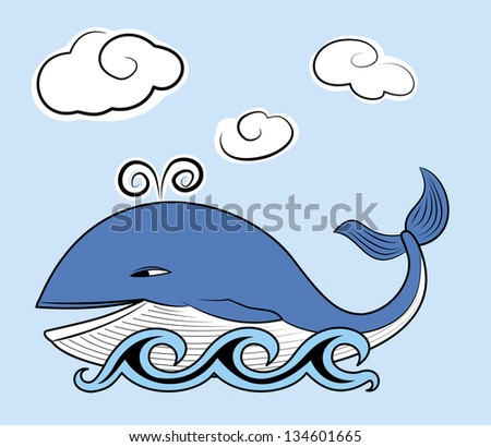 Happy Whale with  Clouds. Raster.