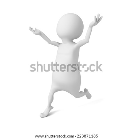 happy white 3d man running forward. happiness or success concept 3d render illustration