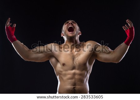 Happy Winning MMA Fighter On Ring  - stock photo