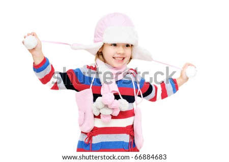 happy winter girl on over the white - stock photo