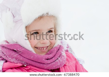 Happy winter girl portrait - stock photo