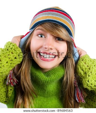 Happy Winter Teenage Girl Portrait. - stock photo