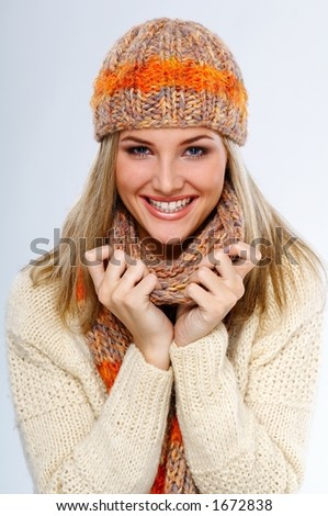 happy winter  woman - stock photo