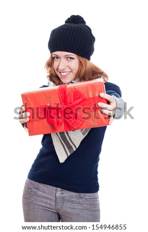 Happy winter woman showing present, isolated on white background. - stock photo