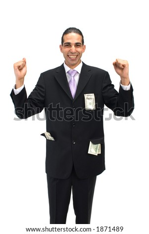 happy with US dollars - stock photo