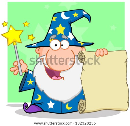 Happy Wizard Waving With Magic Wand And Holding Up A Scroll. Raster Illustration.Vector Version Also Available In Portfolio. - stock photo