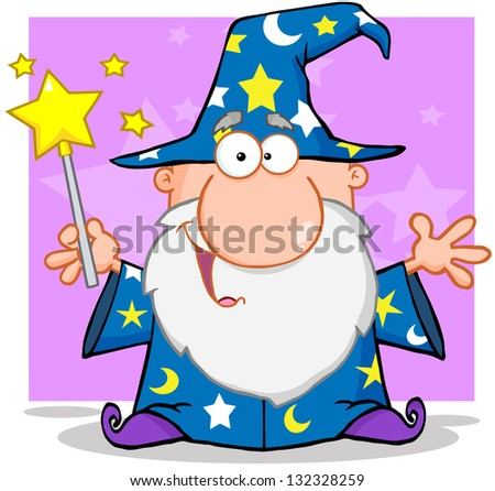 Happy Wizard Waving With Magic Wand. Raster Illustration.Vector Version Also Available In Portfolio. - stock photo
