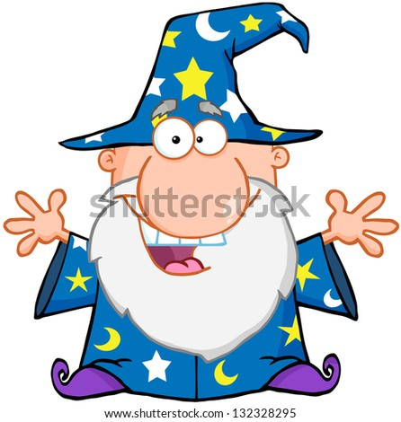 Happy Wizard With Open Arms. Raster Illustration.Vector Version Also Available In Portfolio. - stock photo