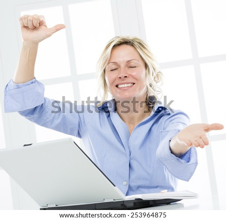 Happy woman about business success - stock photo
