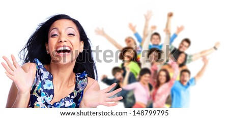 Happy woman and a group of people. Isolated on white background.