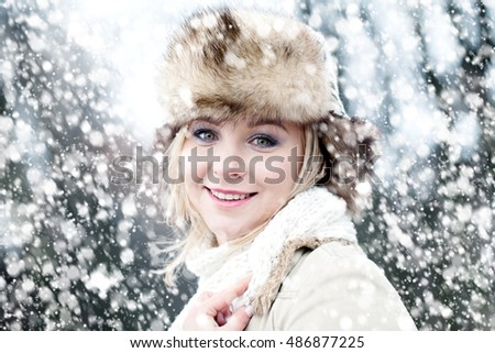 Happy Woman and Winter Snow
