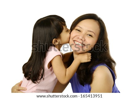 Happy woman and young girl smiling. Mother day concept