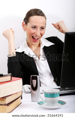 Happy woman by office work