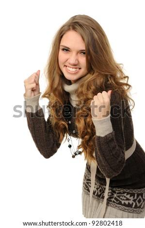 Happy woman celebrating - stock photo