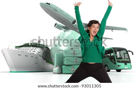 Happy woman celebrating her departure on a world tour - stock photo