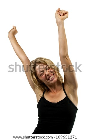 Happy woman cheers with hands in the air, stretches