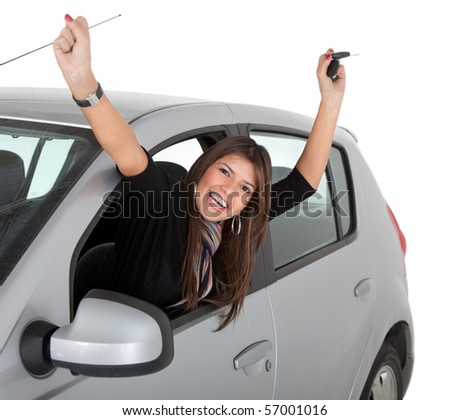 Happy woman coming from a car?s window ? isolated over a white background - stock photo