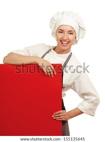 Happy woman cook or baker standing over paper sign billboard. - stock photo