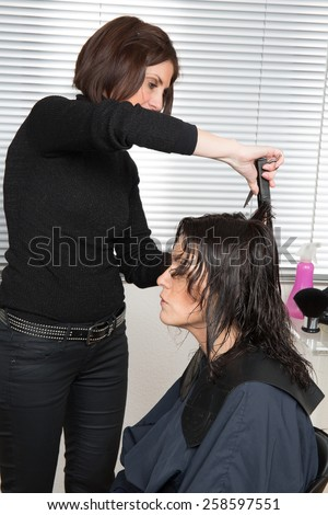Happy  woman cutting hair at the hairdresser salon - stock photo