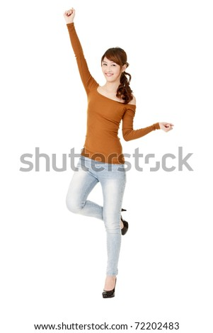 Happy woman dancing and relaxing, full length portrait isolated on white background. - stock photo