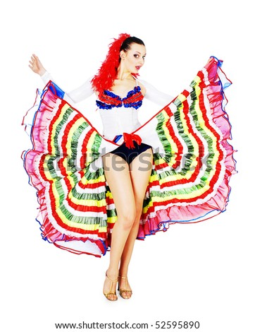 Happy woman dancing cancan