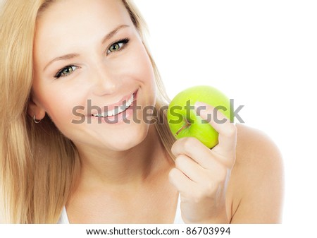 Happy woman dieting, pretty girl eating apple, female hand holding green fruit, healthy lifestyle, nutritious organic food, isolated on white background with text space - stock photo