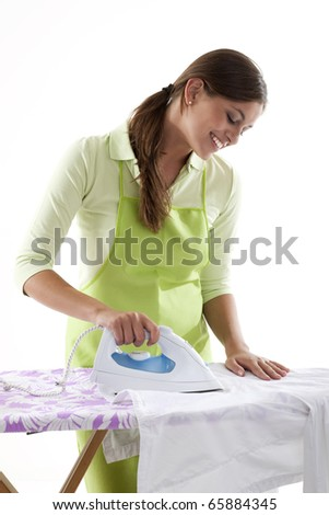 Happy Woman Doing The Ironing, White Background