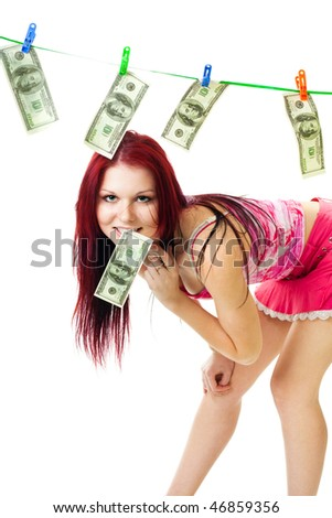 Happy woman dry cash standing in attractive pose - stock photo
