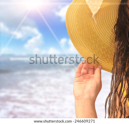 Happy woman enjoying beach relaxing - stock photo