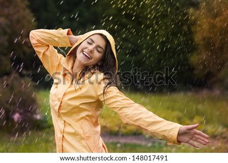 Happy woman enjoying in nature  - stock photo